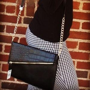 Black Clutch with Detachable Strap
